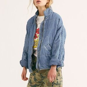 Free People denim quilted dolman sleeve jacket